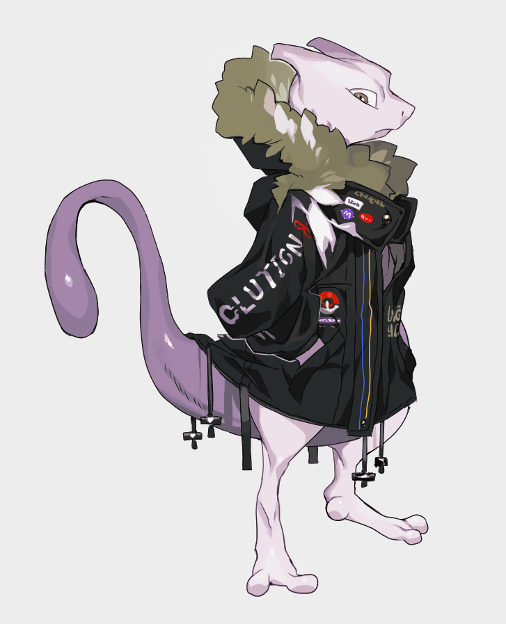 arms_behind_back black_coat closed_mouth clothed_pokemon clothes_writing coat cross drawstring frown full_body fur-trimmed_coat fur-trimmed_hood fur_trim gen_1_pokemon hood hood_down hooded_coat long_sleeves looking_at_viewer mewtwo newo_(shinra-p) poke_ball_symbol pokemon pokemon_(creature) sanpaku solo standing yellow_eyes