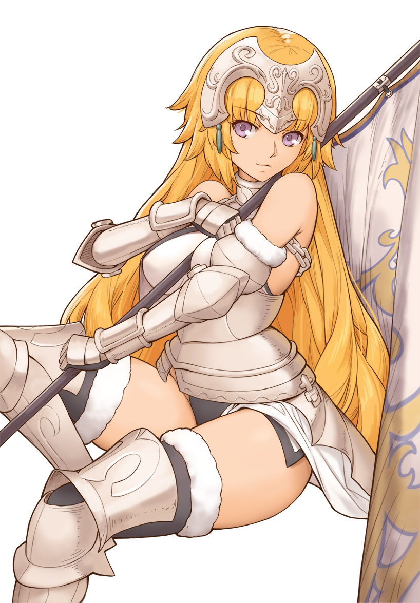 1girl alternate_hairstyle armor armored_boots bangs banner bare_shoulders black_legwear blonde_hair boots breasts chain closed_mouth commentary_request eyebrows_visible_through_hair fate/grand_order fate_(series) fur-trimmed_legwear fur_trim gauntlets grey_footwear headpiece holding invisible_chair jeanne_d'arc_(fate) jeanne_d'arc_(fate)_(all) long_hair looking_at_viewer medium_breasts no_pants simple_background sitting smile solo thigh-highs thigh_boots thighhighs_under_boots thighs tsuki_suigetsu very_long_hair white_background