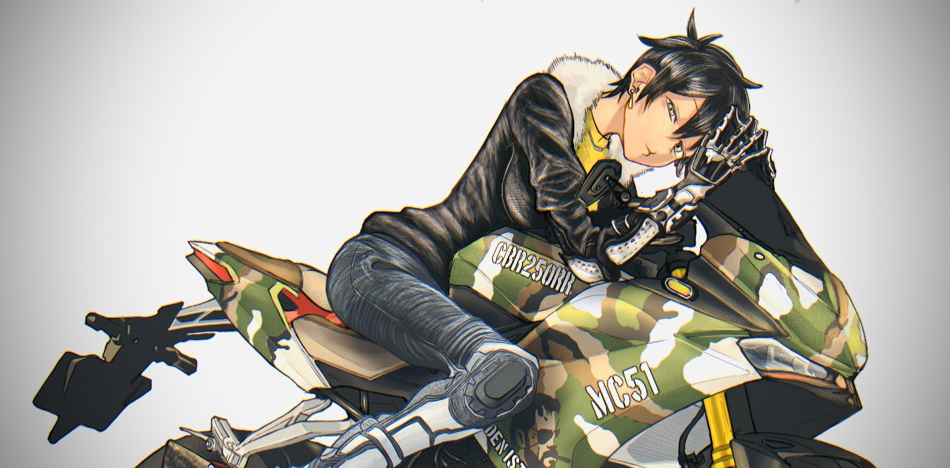 1girl biker_clothes black_gloves black_hair boots borrowed_character breasts commentary_request denim e_kichirakugaki earrings elbow_pads fur_collar gloves ground_vehicle jacket jeans jewelry knee_pads kurobe_natsumi_(shiromanta) large_breasts leather looking_at_viewer motor_vehicle motorcycle on_motorcycle pants senpai_ga_uzai_kouhai_no_hanashi shirt short_hair solo steepled_fingers yellow_eyes yellow_shirt