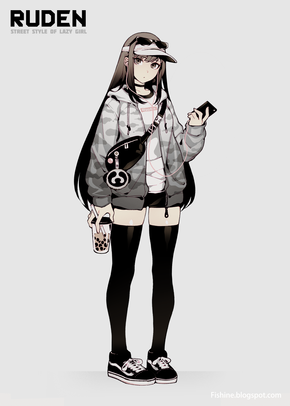 1girl bag black_eyes black_hair black_legwear bubble_tea choker digital_media_player earphones earphones eyewear_on_head fishine full_body grey_background highres hood hooded_jacket hoodie jacket long_hair looking_at_viewer open_clothes open_hoodie open_jacket original shoes short_shorts shorts shoulder_bag sidelocks simple_background sneakers solo standing sunglasses thigh-highs visor_cap