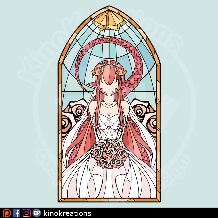 1girl bouquet commentary commission dress english_commentary faceless flower hair_between_eyes hair_ornament jewelry kinokashi lamia long_hair miia_(monster_musume) monster_girl monster_musume_no_iru_nichijou necklace pointy_ears redhead scales solo stained_glass tail very_long_hair wedding_dress white_dress