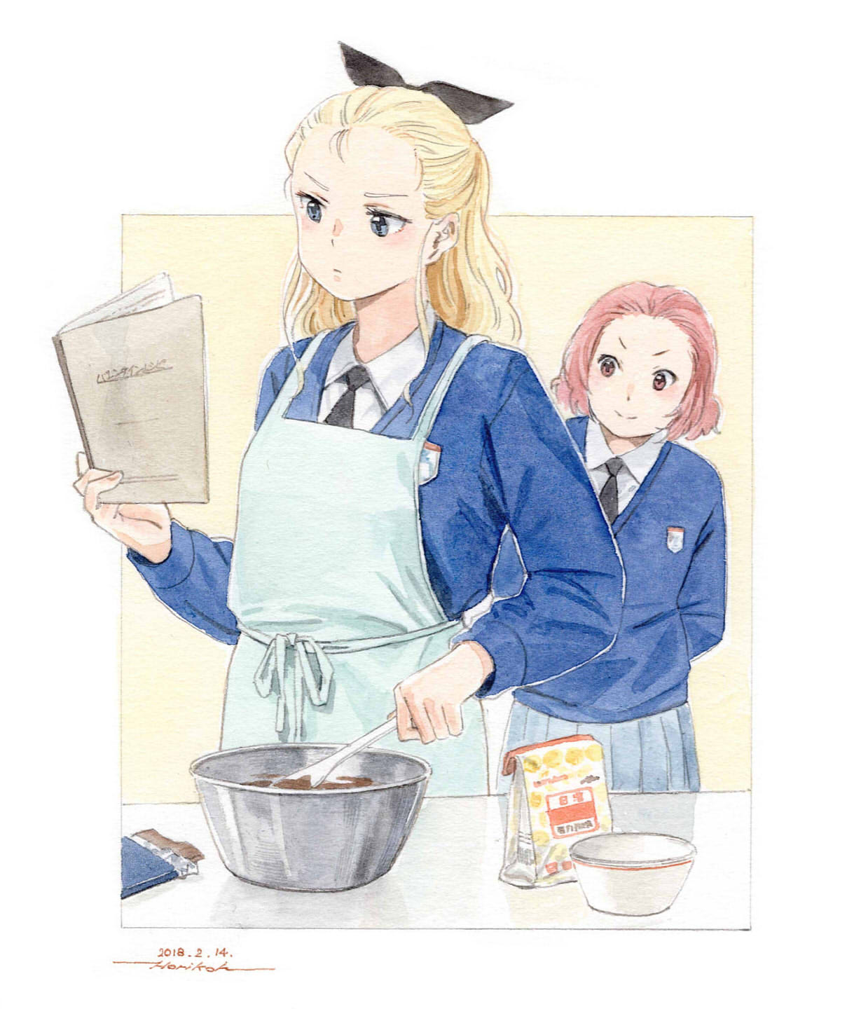 2girls apron arms_behind_back assam black_neckwear black_ribbon blonde_hair blue_apron blue_eyes blue_skirt blue_sweater book bowl brown_eyes chocolate closed_mouth commentary cooking dress_shirt emblem frown girls_und_panzer hair_pulled_back hair_ribbon highres holding holding_book holding_spatula horikou leaning_to_the_side long_hair long_sleeves looking_at_another medium_hair multiple_girls necktie outside_border pleated_skirt redhead ribbon rosehip school_uniform shirt skirt smile spatula st._gloriana's_(emblem) st._gloriana's_school_uniform standing sweater traditional_media v-neck valentine white_shirt wing_collar