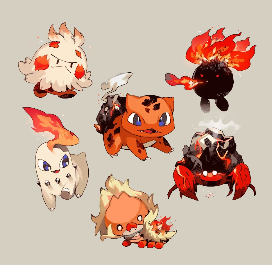 :3 black_eyes blank_eyes blue_eyes breathing_fire bulbasaur chikorita closed_mouth commentary_request fangs fire full_body gen_1_pokemon gen_2_pokemon gen_3_pokemon gen_5_pokemon grey_background half-closed_eyes happy looking_at_viewer looking_to_the_side newo_(shinra-p) no_humans oddish open_mouth parasect pokemon pokemon_(creature) red_eyes sewaddle shroomish simple_background smile smoke steam white_eyes