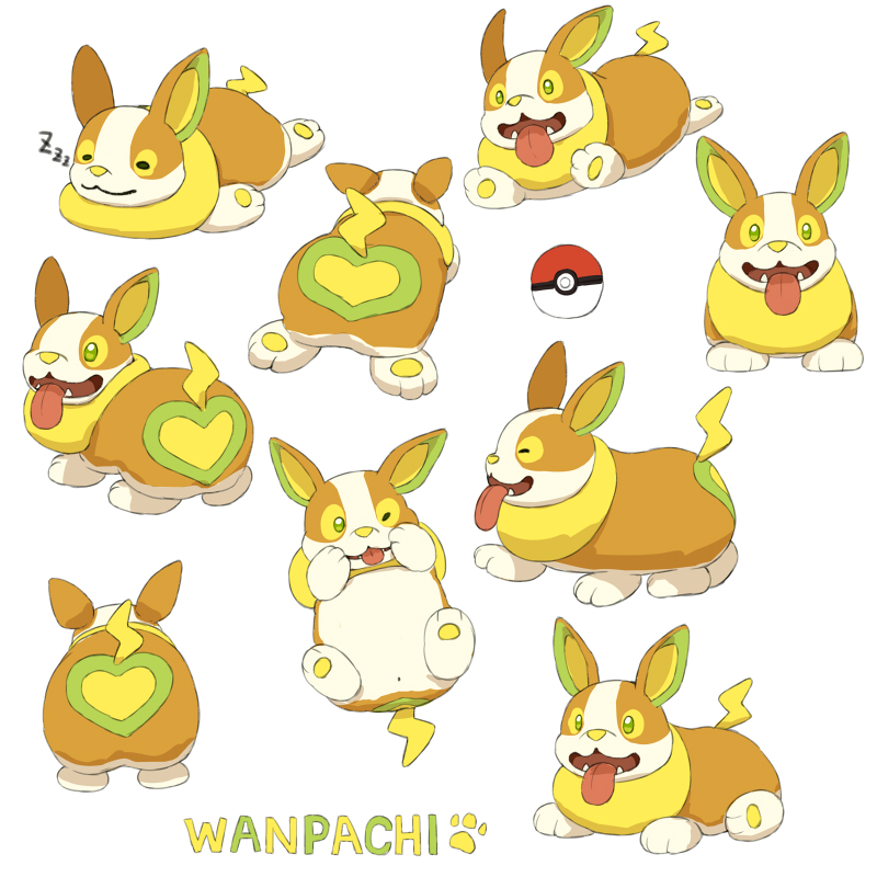 character_name closed_eyes dog facing_away fangs gen_8_pokemon green_eyes happy heart jumping lilac_(p-f_easy) looking_at_viewer looking_to_the_side lying multiple_views on_back one_eye_closed paw_print pokemon pokemon_(creature) simple_background sleeping sploot standing tongue tongue_out walking white_background yamper