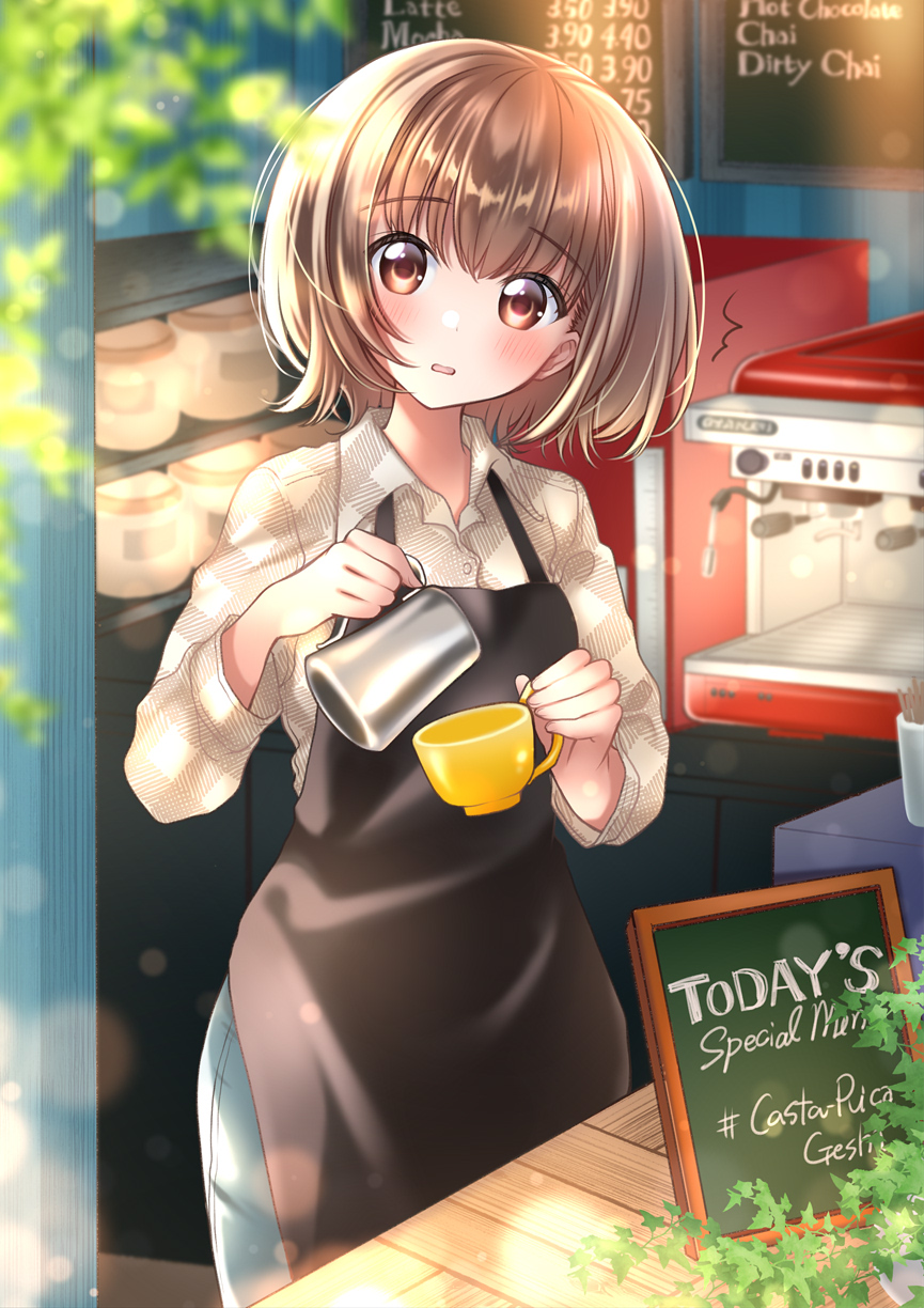 1girl bob_cut brown_hair coffee cup denim highres indoors kawanobe long_sleeves looking_at_viewer mug original plaid plaid_shirt restaurant shirt short_hair standing window