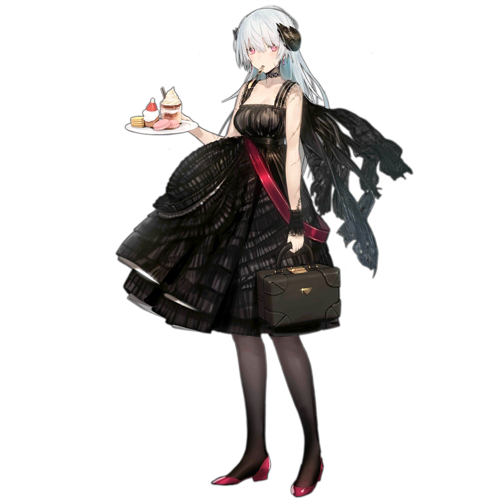 1girl alternate_costume bag black_dress black_legwear black_scarf breasts cake collarbone detached_sleeves dress earrings facial_scar food fork_in_mouth full_body girls_frontline glint gold holding holding_bag holding_tray ice_cream jewelry lace lace-trimmed_dress lace-trimmed_sleeves laurel_crown layered_dress long_hair looking_at_viewer macaron medium_breasts mouth_hold muffin nin official_art pantyhose pink_eyes pumps red_footwear scar scar_on_cheek scarf silver_hair solo sundae thunder_(girls_frontline) transparent_background tray