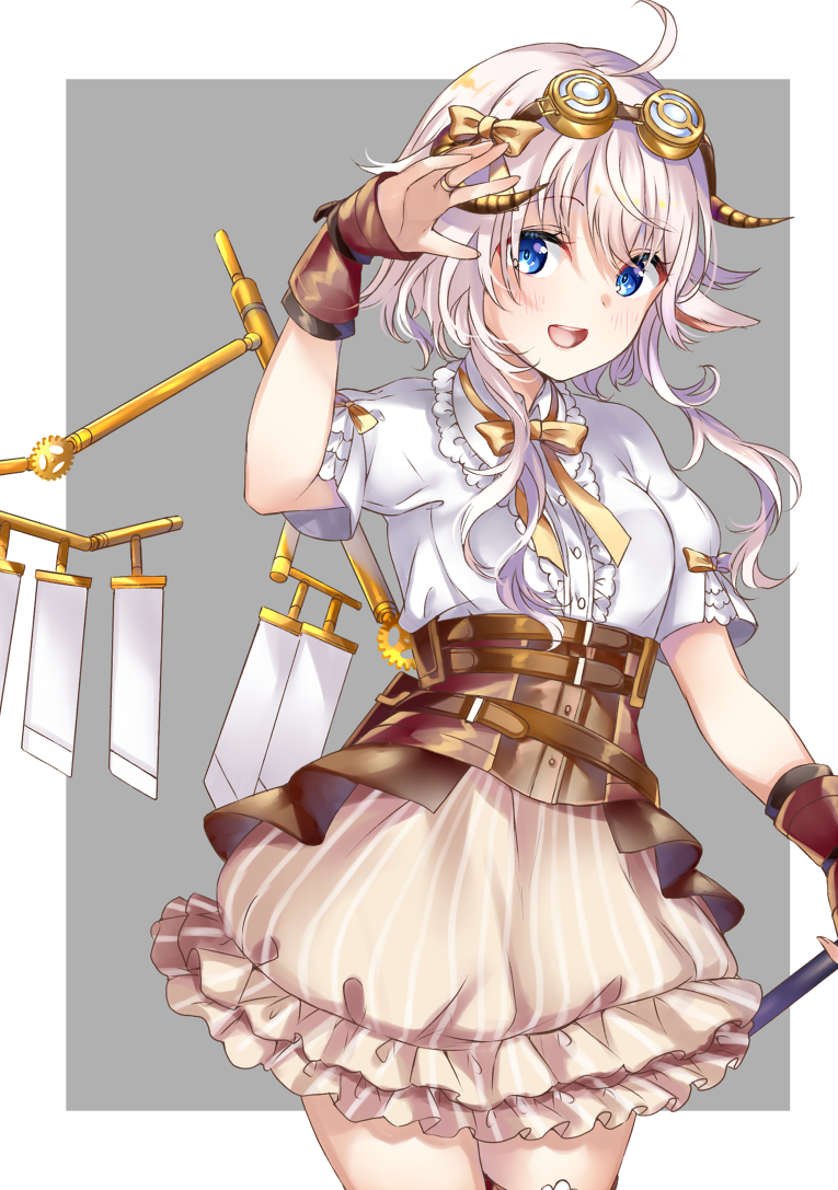 1girl :d ahoge animal_ears arm_up blue_eyes blush bow breasts brown_bow brown_skirt center_frills commentary_request curled_horns frilled_skirt frills goggles goggles_on_head grey_background horns jewelry long_hair looking_at_viewer mashiro_aa open_mouth original puffy_short_sleeves puffy_sleeves ring shirt short_sleeves sidelocks silver_hair skirt small_breasts smile solo striped two-tone_background vertical-striped_skirt vertical_stripes white_background white_shirt wrist_cuffs