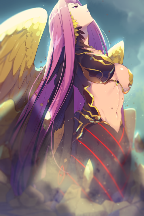1girl bangs blue_sky breasts cis05 dust fate/grand_order fate_(series) forehead gorgon_(fate) large_breasts long_hair looking_up navel parted_bangs parted_lips purple_hair scales sky solo very_long_hair violet_eyes wings
