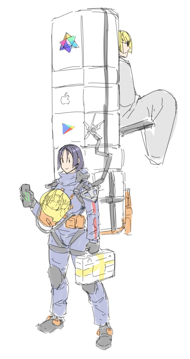 >:) :| apple_inc. can carrying closed_mouth crossover death_stranding delivery energy_drink eu03 google highres logo minamoto_no_raikou_(fate/grand_order) monster_energy package saint_quartz sakata_kintoki_(fate/grand_order) shuten_douji_(fate/grand_order) smile sunglasses