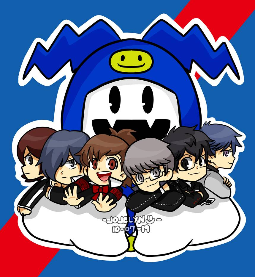 00s 10s 1girl 1other 5boys 90s amamiya_ren atlus chibi face_print fangs human jack_frost jyojiriiin megami_tensei narukami_yuu nintendo pac-man_eyes persona persona_1 persona_2 persona_3 persona_3_portable persona_4 persona_5 protagonist_(persona_2) school_uniform sega shin_megami_tensei shiomi_kotone smiley_face snowman suou_tatsuya toudou_naoya yuuki_makoto