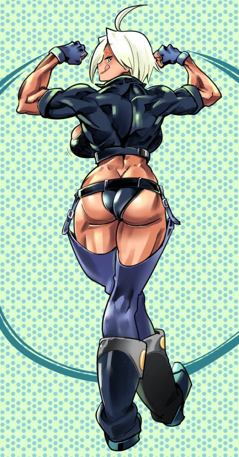 1girl ahoge angel_(kof) ass back backboob blue_eyes blue_gloves boots breasts chaps cowboy_boots cropped_jacket dark_skin eyebrows_visible_through_hair fingerless_gloves flexing from_behind gloves greyscale kemonono_(inchiki_dou) large_breasts licking_lips monochrome muscle muscular_female pose short_hair smile solo standing the_king_of_fighters tongue tongue_out white_hair