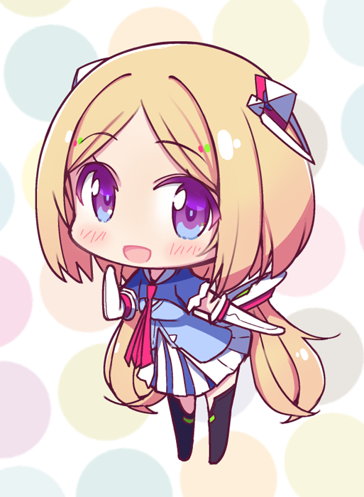 1girl aki_rosenthal azumi_akitake bangs blonde_hair boots chibi detached_hair elbow_gloves full_body gloves hair_ornament hololive long_hair looking_at_viewer open_mouth polka_dot polka_dot_background smile solo thigh-highs thigh_boots twintails violet_eyes virtual_youtuber