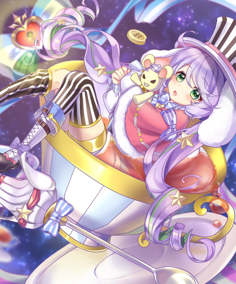 1girl ahoge animal_ears asymmetrical_legwear bangs blue_bow blurry blurry_background blush boots bow capelet character_request cross-laced_footwear cup depth_of_field dutch_angle eat_me eyebrows_visible_through_hair fur-trimmed_capelet fur_trim green_eyes green_hair hair_between_eyes hat heart high_heel_boots high_heels highres in_container in_cup ken_pyatsu keyhole lace-up_boots long_hair long_sleeves looking_at_viewer multicolored_hair object_hug open_mouth puffy_long_sleeves puffy_sleeves purple_hair rabbit_ears red_capelet saucer shironeko_project shirt sleeves_past_wrists solo spoon star striped striped_bow striped_legwear stuffed_animal stuffed_toy tea teacup teapot teddy_bear thigh-highs thighhighs_pull thighhighs_under_boots twintails two-tone_hair vertical-striped_hat vertical-striped_legwear vertical_stripes very_long_hair white_footwear white_shirt