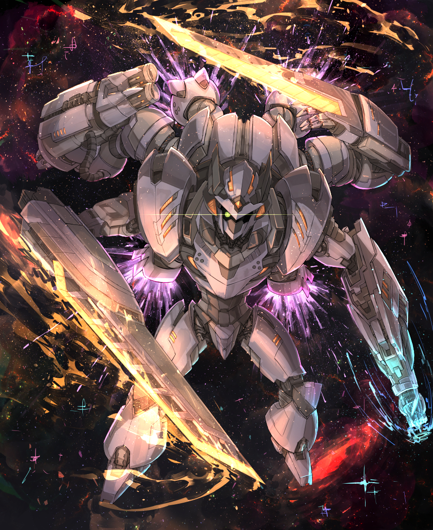 arm_blade extra_arms glowing glowing_eye gun kan_(aaaaari35) mecha no_humans original space sparks thrusters weapon