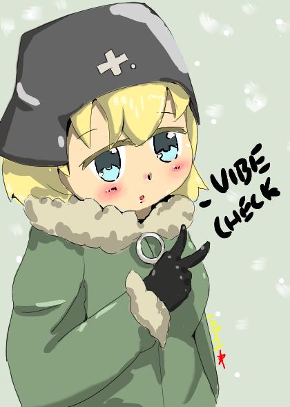 1girl blonde_hair blue_eyes blush cornstarchia green_coat helmet highres shoujo_shuumatsu_ryokou yuuri_(shoujo_shuumatsu_ryokou)