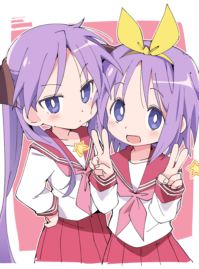 2girls blush closed_mouth double_v eyebrows_visible_through_hair hairband hand_on_hip hiiragi_kagami hiiragi_tsukasa ixy long_hair looking_at_viewer lucky_star multiple_girls open_mouth pink_neckwear pleated_skirt purple_hair red_sailor_collar red_skirt ryouou_school_uniform sailor_collar school_uniform serafuku short_hair siblings sisters skirt smile twintails v violet_eyes yellow_hairband