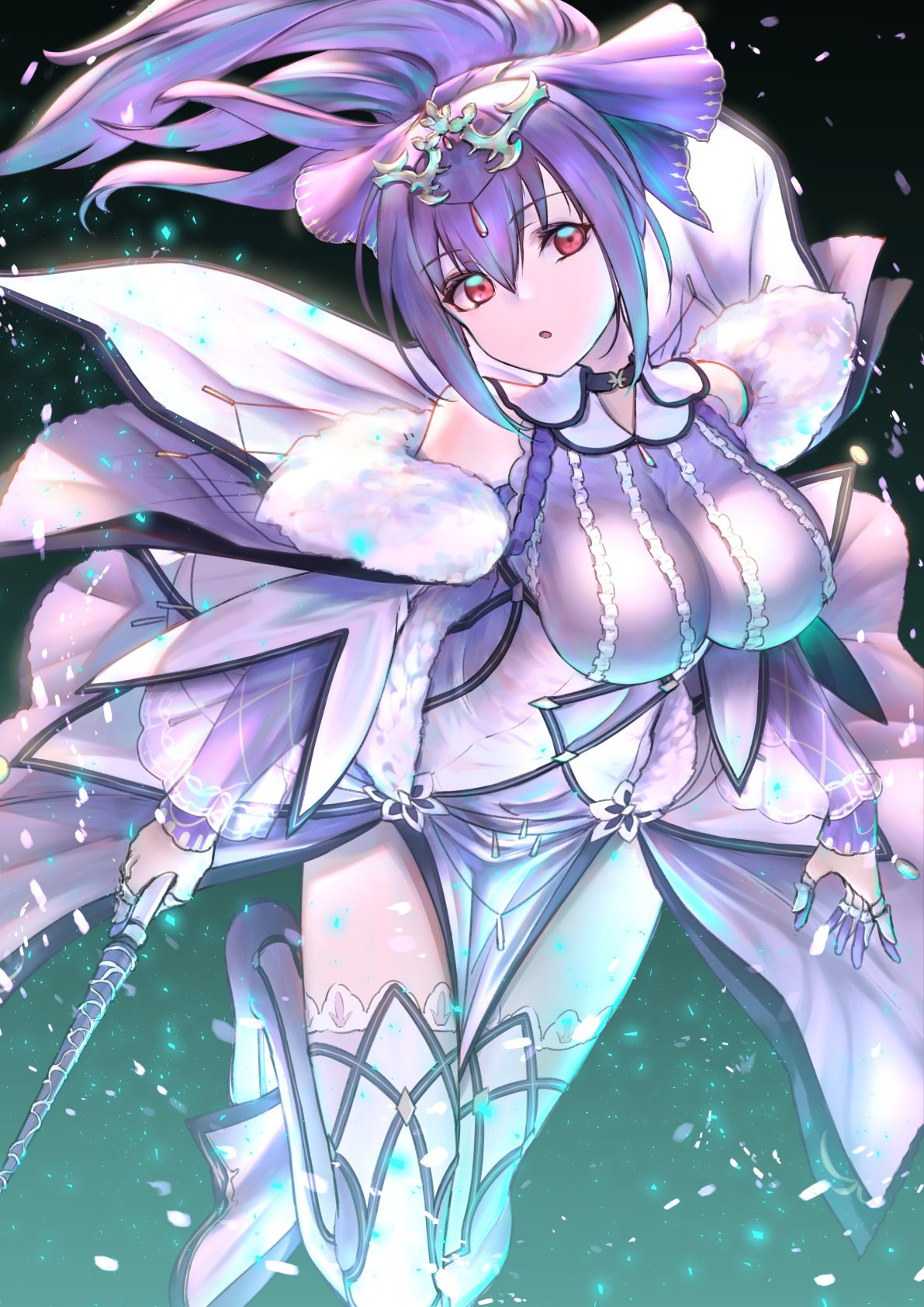 1girl :o bangs boots breasts dress fate/grand_order fate_(series) fur-trimmed_dress fur_trim hair_between_eyes headpiece highres holding holding_wand itaco1987 large_breasts looking_to_the_side open_mouth ponytail purple_dress purple_hair purple_ribbon red_eyes ribbon runes scathach_(fate)_(all) scathach_skadi_(fate/grand_order) solo thigh-highs thigh_boots tiara wand