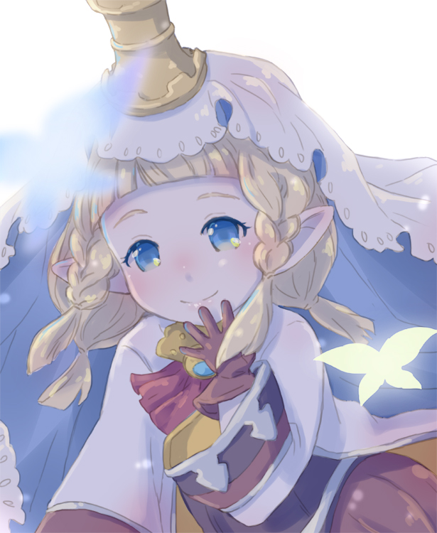 1girl blonde_hair blue_eyes blurry blurry_foreground blush braid brown_gloves bug butterfly closed_mouth depth_of_field filasopila gloves granblue_fantasy harvin insect long_sleeves looking_at_viewer nika_(intention) pointy_ears silhouette smile solo twin_braids veil white_background