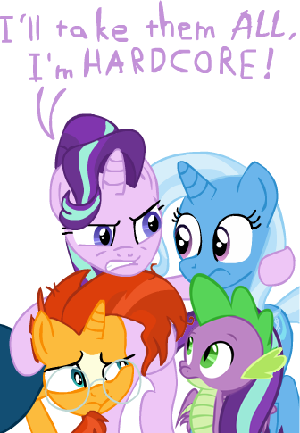 my_little_pony spike starlight_glimmer sunburst trixie_lulamoon