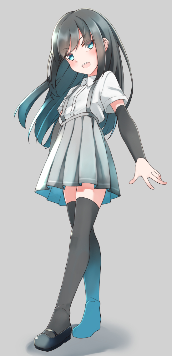 1girl arm_warmers asashio_(kantai_collection) black_hair black_legwear blue_eyes blush buttons collared_shirt comah cowboy_shot eyebrows_visible_through_hair feet_out_of_frame flat_chest grey_background grey_skirt hair_between_eyes kantai_collection long_hair looking_at_viewer open_mouth pleated_skirt shirt short_sleeves simple_background skirt smile solo standing suspender_skirt suspenders thigh-highs white_shirt