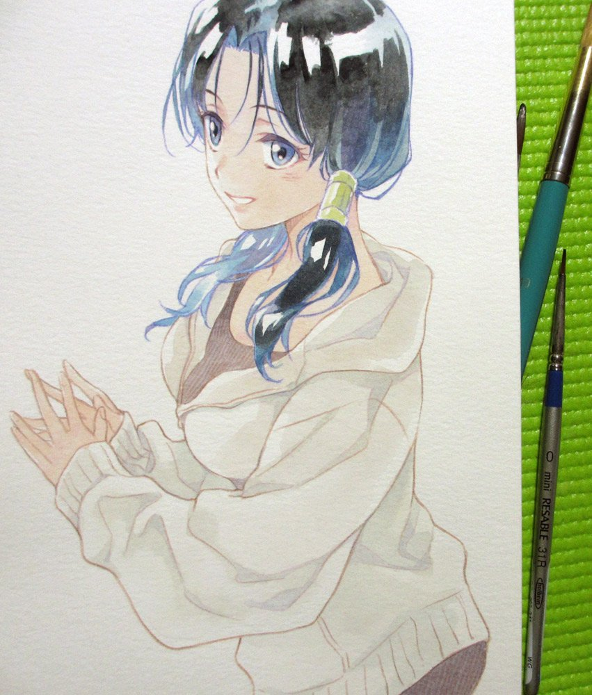 1girl :d agahari art_brush black_hair black_shirt blue_eyes breasts commentary_request dragon_ball dragon_ball_z eyelashes fingernails fingers_together happy hood hood_down hooded_jacket jacket looking_away medium_breasts open_clothes open_jacket open_mouth paintbrush photo shiny shiny_hair shirt sleeves_past_wrists smile solo traditional_media twintails upper_body videl watercolor_(medium) white_jacket