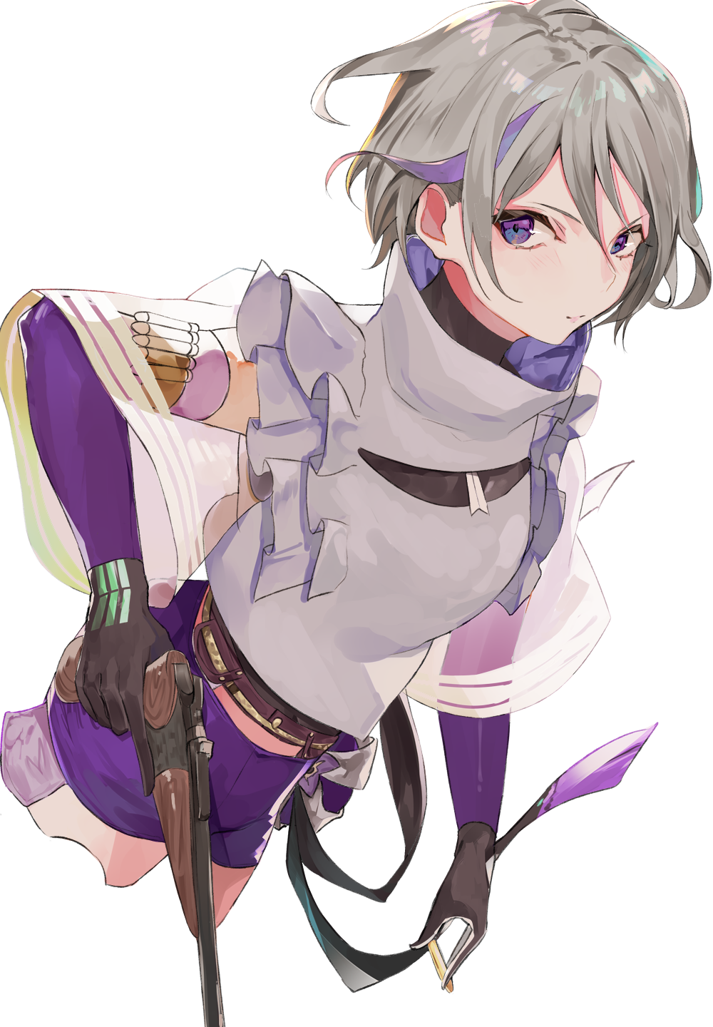 1girl asyde blush bullet closed_mouth contender_(girls_frontline) cropped_legs elbow_gloves frills girls_frontline gloves grey_hair gun handgun highres holding holding_bullet holding_gun holding_weapon lips multicolored multicolored_clothes multicolored_gloves multicolored_hair purple_hair purple_shorts short_hair shorts simple_background solo streaked_hair thompson/center_contender violet_eyes weapon white_background