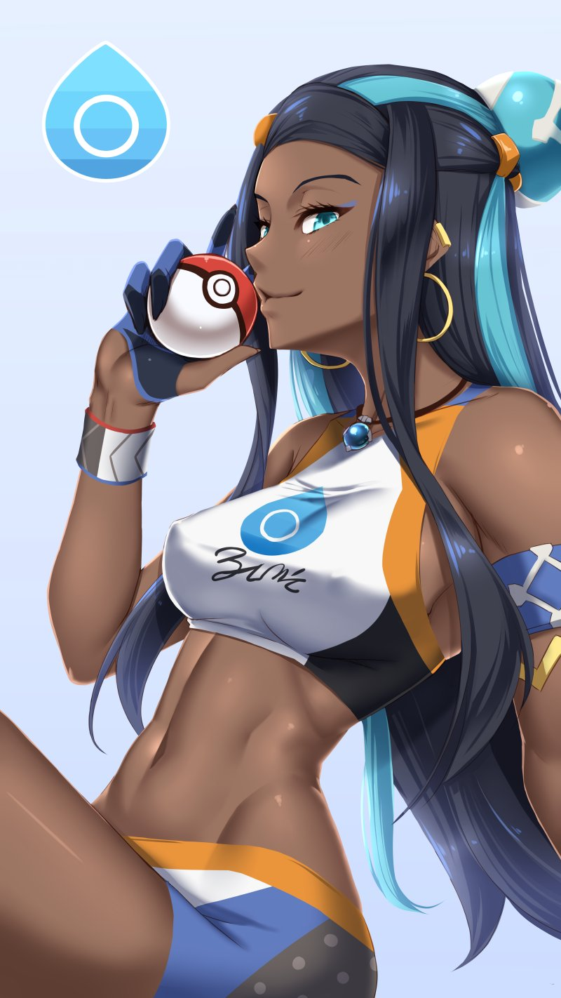 1girl armlet bare_shoulders bike_shorts black_hair blue_eyes blue_hair blush breasts dark_skin earrings eyeliner gloves gym_leader hair_bun highres holding holding_poke_ball hoop_earrings jewelry long_hair looking_at_viewer makeup medium_breasts multicolored_hair navel necklace partly_fingerless_gloves pendant poke_ball pokemon pokemon_(game) pokemon_swsh rurina_(pokemon) shuugetsu_karasu simple_background single_glove smile solo sports_bra sportswear thighs two-tone_hair wristband
