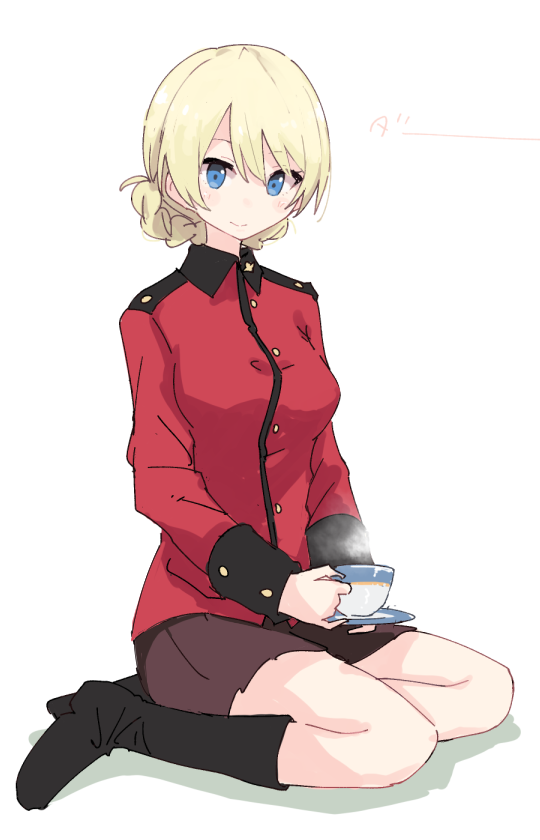1girl bangs black_footwear black_skirt blonde_hair blue_eyes boots braid character_name closed_mouth commentary cup darjeeling epaulettes girls_und_panzer holding holding_cup holding_saucer jacket light_blush long_sleeves looking_at_viewer military military_uniform miniskirt pleated_skirt red_jacket saucer shadow shiroshi_(denpa_eshidan) short_hair simple_background sitting skirt smile solo st._gloriana's_military_uniform steam teacup tied_hair translated twin_braids uniform white_background yokozuwari