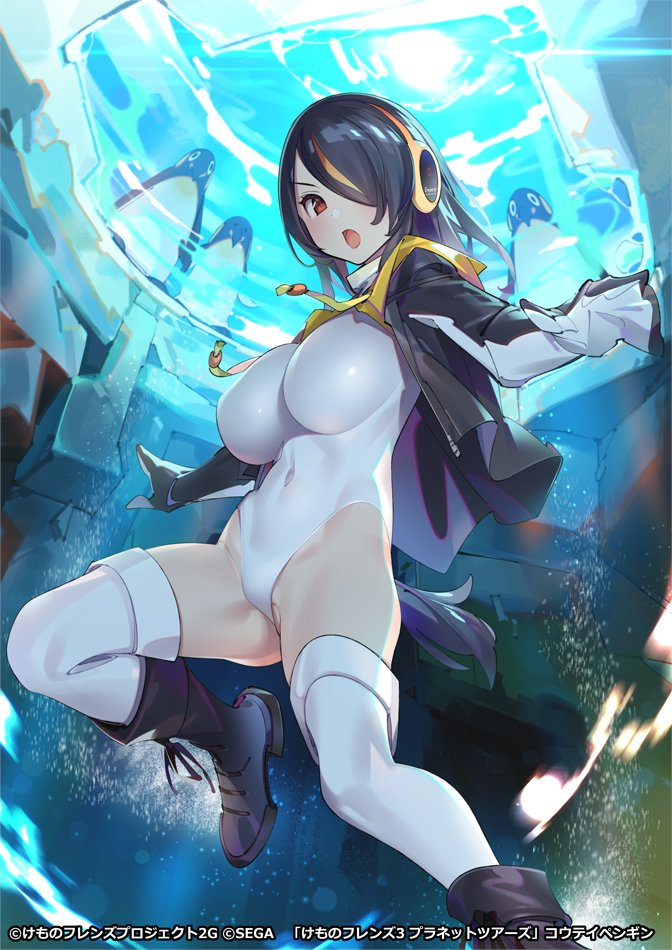 1girl ass_visible_through_thighs bird bird_tail black_hair boots breasts brown_eyes company_name copyright covered_navel drawstring emperor_penguin_(kemono_friends) freediving groin hair_over_one_eye headphones highleg highleg_leotard hood hood_down hoodie impossible_clothes impossible_leotard kemono_friends large_breasts leotard long_sleeves looking_at_viewer multicolored_hair official_art open_clothes open_hoodie open_mouth outstretched_arms penguin penguin_tail pop_kyun redhead solo spread_arms streaked_hair submerged tail thigh-highs underwater water