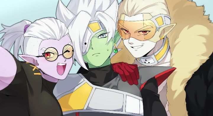 3boys alternate_costume artist_request blonde_hair blue_eyes boots collar dougi dragon_ball dragon_ball_heroes dragon_ball_online dragon_ball_super dragon_ball_xenoverse earrings eyepatch fu_(dragon_ball) fused_zamasu glasses green_skin hair_pulled_back hair_slicked_back hearts_(dragon_ball) image_sample jewelry long_sleeves looking_at_viewer male_focus multiple_boys pointy_ears potara_earrings purple_skin red_eyes short_hair silver_hair simple_background smile spiky_hair sweater tinted_eyewear turtleneck turtleneck_sweater visor white_hair zamasu
