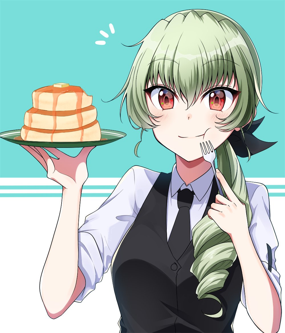 1girl :t alternate_costume alternate_hairstyle anchovy bangs bite_mark black_neckwear black_ribbon black_vest butter commentary dress_shirt drill_hair eating eyebrows_visible_through_hair food fork girls_und_panzer green_hair hair_over_shoulder hair_ribbon holding holding_fork holding_plate light_blush long_hair looking_at_viewer nakaba_neteru necktie notice_lines pancake plate ponytail red_eyes reverse_trap ribbon shirt single_drill sleeves_rolled_up solo vest waiter white_shirt wing_collar