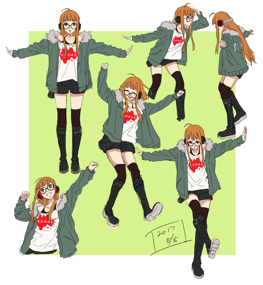 1girl belt_boots black_footwear blush boots collage cross-laced_footwear fur_trim glasses headphones jacket knee_boots lace-up_boots long_hair looking_at_viewer multiple_views orange_hair persona persona_5 persona_5:_dancing_star_night sakura_futaba smile thigh-highs thighhighs_under_boots werkbau