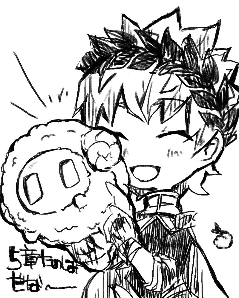 1boy ^_^ animal apollo_(fate) chibi closed_eyes commentary facing_viewer fate/grand_order fate_(series) food greyscale head_wreath holding holding_animal male_focus monochrome open_mouth sheep shrimp simple_background smile solo tempura upper_body white_background |_|