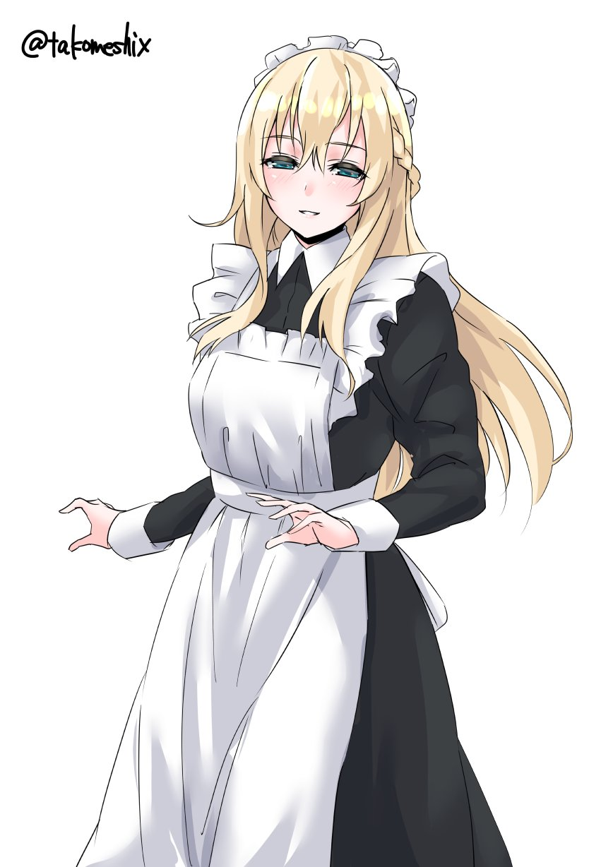 1girl alternate_costume apron black_dress blonde_hair blue_eyes braid cowboy_shot dress enmaided french_braid frilled_apron frills highres kantai_collection long_hair long_sleeves maid maid_apron maid_headdress parted_lips simple_background smile solo standing takomeshi twitter_username warspite_(kantai_collection) white_apron white_background