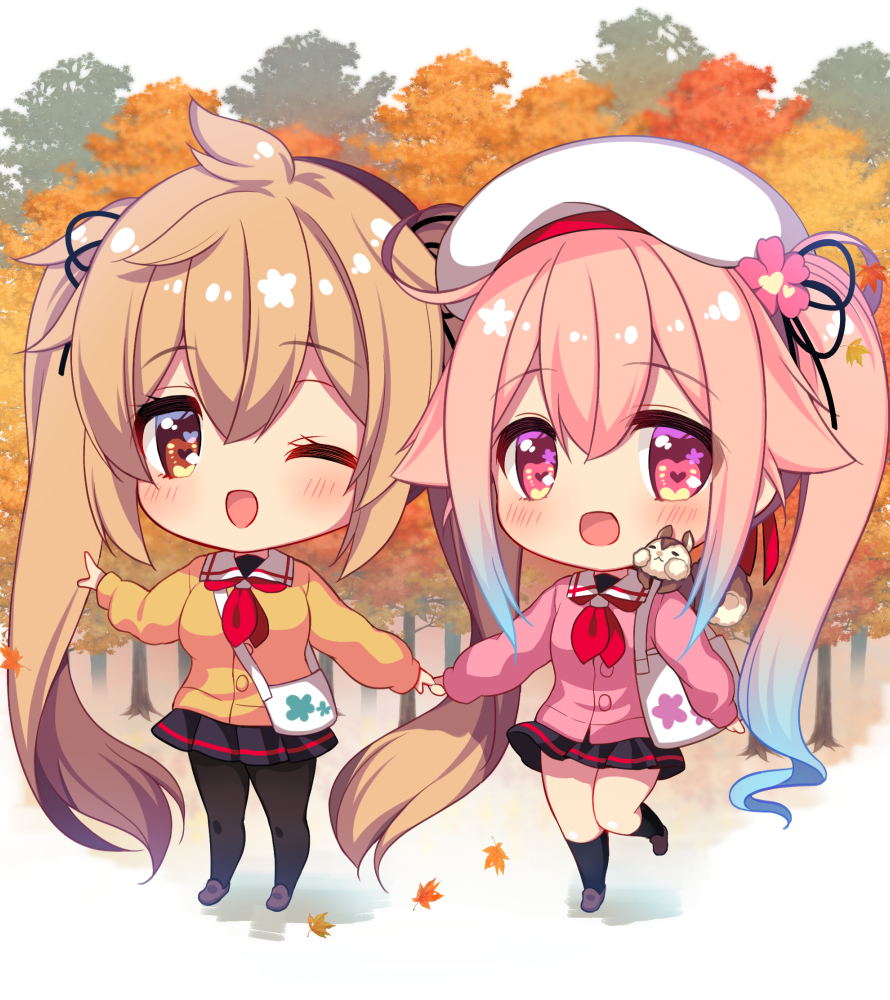 2girls bag beret black_skirt blonde_hair blue_hair blush cardigan chibi commentary_request eyebrows_visible_through_hair flower gradient_hair hair_between_eyes hair_flaps hair_flower hair_ornament hair_ribbon harusame_(kantai_collection) hat heart heart-shaped_pupils holding_hands kantai_collection leaf leg_up long_hair looking_at_viewer maple_leaf multicolored_hair multiple_girls murasame_(kantai_collection) neckerchief one_eye_closed open_mouth orange_eyes outdoors pantyhose pink_cardigan pink_eyes pink_hair plaid plaid_skirt red_neckwear ribbon ringo_sui sailor_collar shoulder_bag side_ponytail skirt socks squirrel symbol-shaped_pupils tree twintails very_long_hair yellow_cardigan