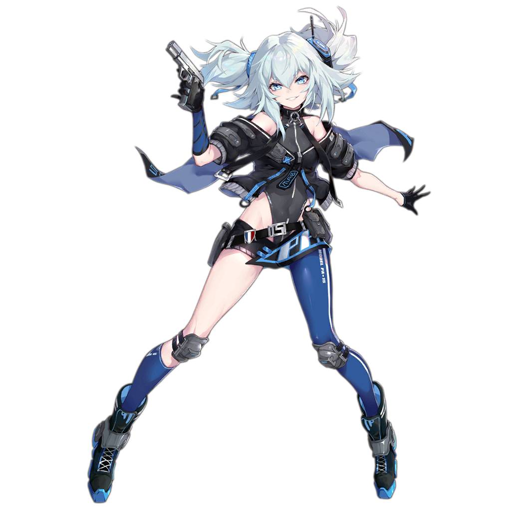 1girl asymmetrical_legwear bangs bare_shoulders black_gloves blue_eyes blue_hair blue_legwear boots breasts capelet clothes_writing cropped_jacket floating_hair full_body girls_frontline gloves grey_jacket grey_leotard grin gun hair_between_eyes hair_ornament handgun headgear holding holding_gun holding_weapon holster jacket knee_pads leotard mab_pa-15 miniskirt off_shoulder official_art pa-15_(girls_frontline) pistol shanyao_jiang_tororo sidelocks single_half_glove single_leg_pantyhose single_sock skirt small_breasts smile socks solo standing transparent_background turtleneck watermark weapon web_address