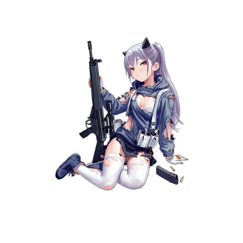 1girl arm_support assault_rifle bangs blush boots bra breasts bullet cartridge closed_mouth cross-laced_footwear fkey garter_straps girls_frontline gloves gun h&k_hk33 hk33_(girls_frontline) holding holding_gun holding_weapon jacket long_hair long_sleeves looking_at_viewer magazine_(weapon) ponytail red_eyes rifle silver_hair simple_background sitting small_breasts solo thigh-highs torn_clothes torn_legwear transparent_background underwear weapon white_background white_bra white_gloves white_legwear yokozuwari