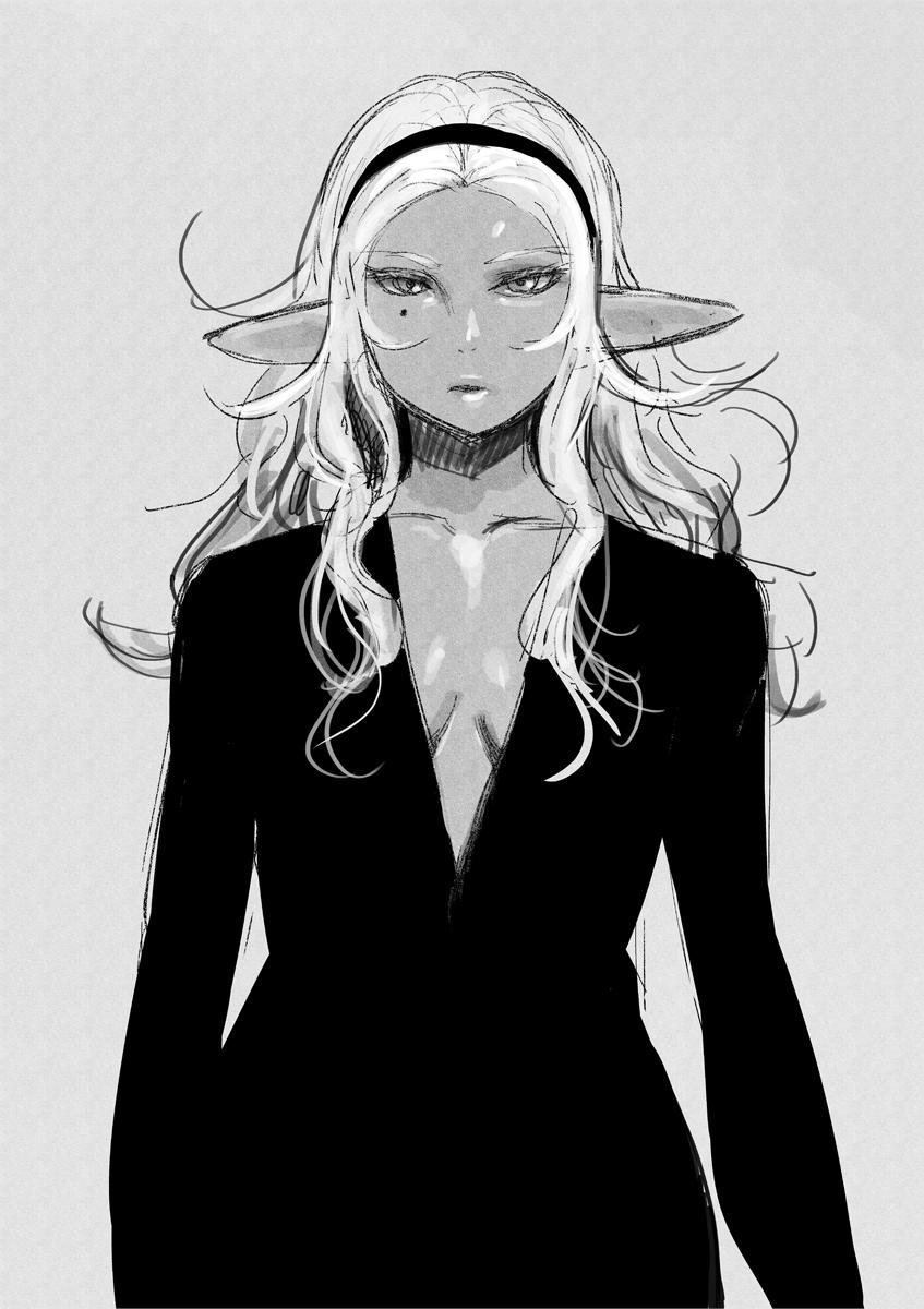 1girl alternate_costume bangs breasts dark_elf dark_skin elf elf-san_wa_yaserarenai. fashion forehead greyscale hairband highres kuroeda-san long_hair looking_at_viewer mole mole_under_eye monochrome no_bra parted_bangs plunging_neckline pointy_ears solo standing synecdoche