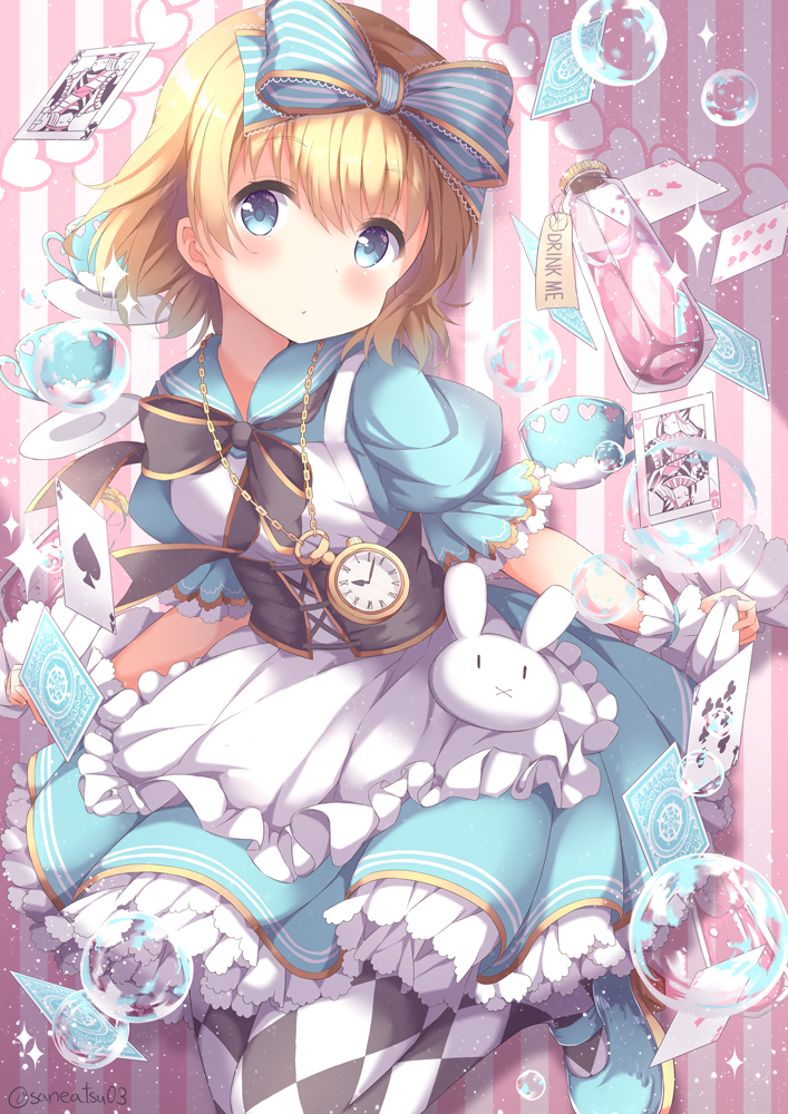 1girl alice_(wonderland) alice_in_wonderland apron argyle argyle_legwear blonde_hair blue_bow blue_dress blue_eyes blue_footwear blush bow card commentary_request corset cup dress drink_me expressionless frilled_cuffs hair_bow heart mary_janes niwasane_(saneatsu03) pantyhose pinafore_dress playing_card pocket_watch rabbit sailor_dress shoes short_hair shorts soap_bubbles solo striped striped_background striped_bow teacup twitter_username vertical-striped_background vertical_stripes vial watch wrist_cuffs