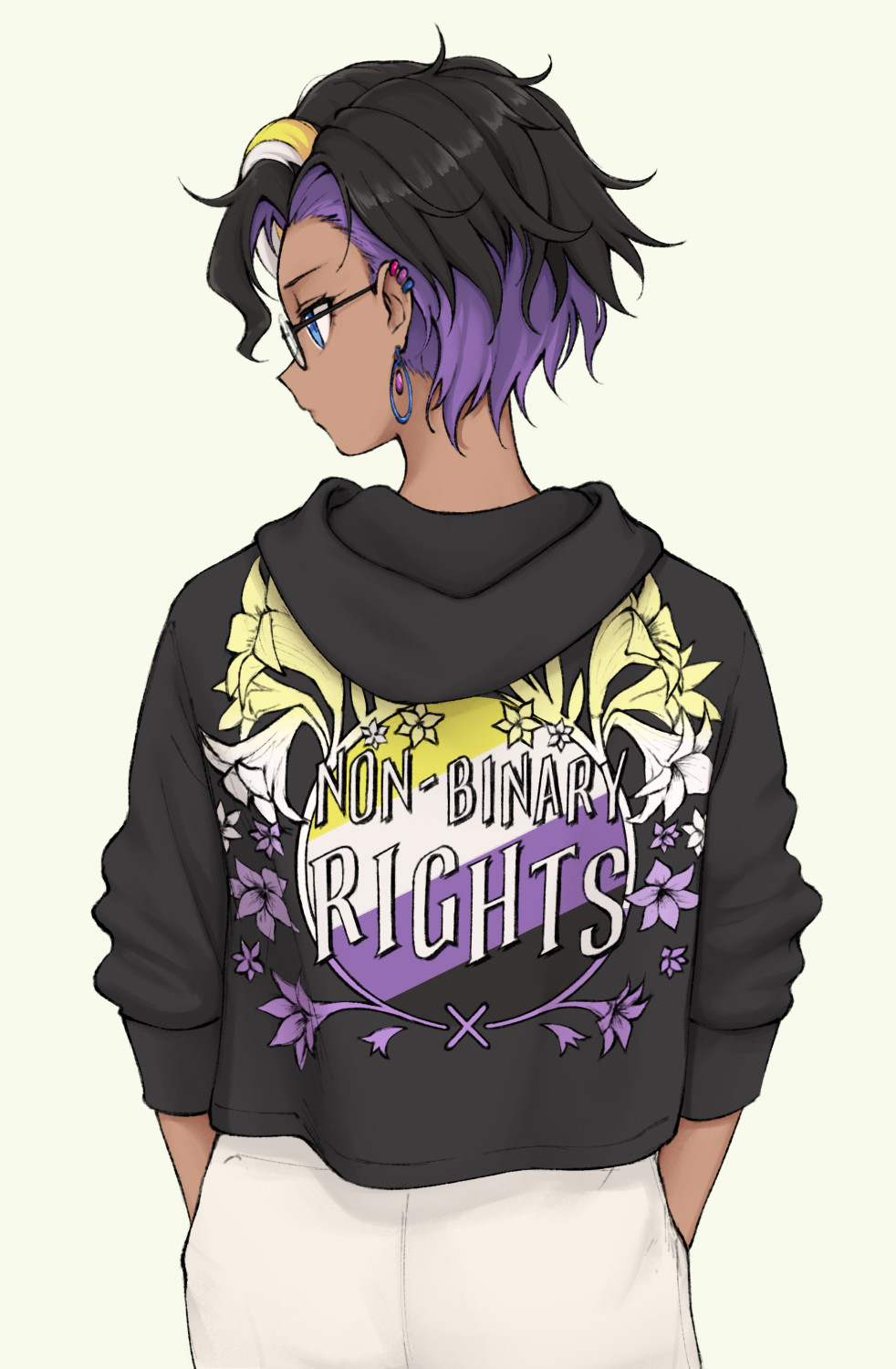 1other androgynous arms_at_sides black_hair black_hoodie blonde_hair blue_eyes dark_skin ear_piercing earrings from_behind highres jewelry long_sleeves looking_to_the_side original pas_(paxiti) piercing purple_hair short_hair white_hair