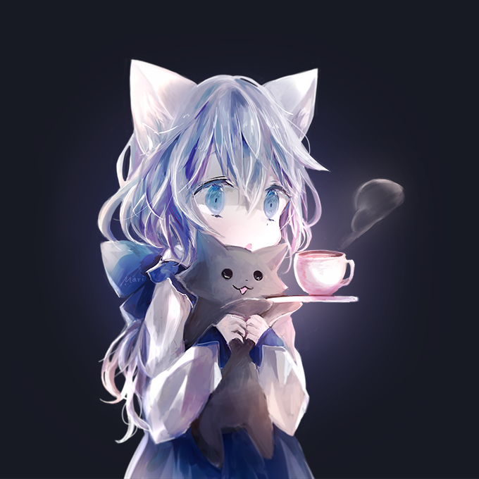 1girl :3 back_bow bangs black_background blue_dress blue_eyes bow cat commentary_request cup dress holding holding_cat holding_plate koneko_mari long_hair long_sleeves mug open_mouth original plate solo steam upper_body
