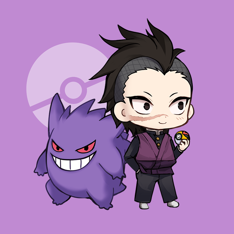 1boy black_eyes black_hair black_jacket black_pants blush chibi closed_mouth crossover evil_grin evil_smile facial_scar forehead gen_1_pokemon gengar grin hand_in_pocket holding holding_poke_ball jacket kimetsu_no_yaiba looking_away maodouzi pants poke_ball poke_ball_symbol pokemon pokemon_(creature) purple_background red_eyes scar scar_on_cheek shinazugawa_genya shoes smile standing v-shaped_eyebrows white_footwear