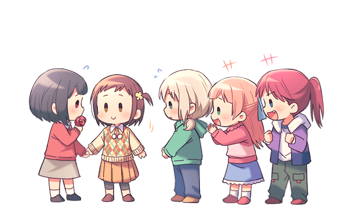 +++ 5girls :d afterglow_(bang_dream!) aoba_moca bang_dream! bangs beige_sweater black_footwear black_hair black_legwear blue_eyes blue_pants blue_ribbon blue_skirt brown_eyes brown_footwear brown_hair child clapping clenched_hands denim fang flower flying_sweatdrops full_body green_hoodie green_pants grey_hair grey_skirt hair_ribbon half_updo hazawa_tsugumi holding holding_flower holding_hands hood hood_down jacket jeans leggings long_sleeves mitake_ran multiple_girls open_mouth orange_skirt pants pink_footwear pink_hair pink_shirt plaid plaid_sweater pleated_skirt ponytail purple_jacket re_ghotion red_eyes red_footwear red_sweater redhead ribbon shirt short_hair side_ponytail skirt smile socks standing sweater udagawa_tomoe uehara_himari white_legwear younger