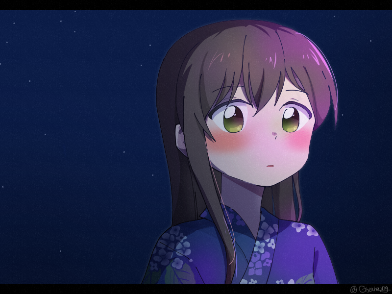 1girl bang_dream! bangs black_hair blue_kimono blush floral_print green_eyes gyaheung japanese_clothes kimono letterboxed long_hair night outdoors parted_lips sky solo star_(sky) starry_sky twitter_username upper_body