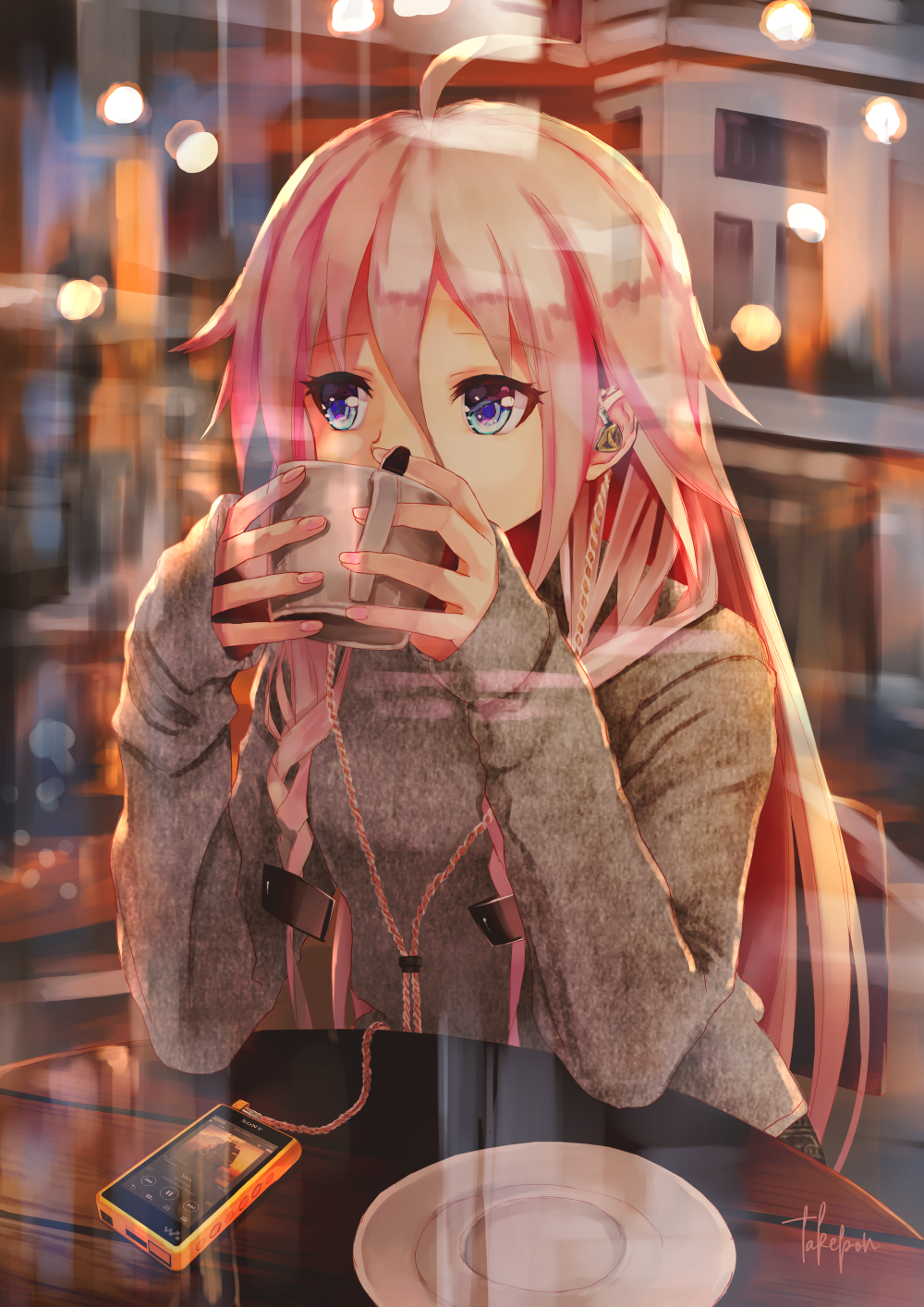 1girl ahoge alternate_costume bangs blonde_hair braid cable cafe casual commentary cup digital_media_player earphones english_commentary eyebrows_visible_through_hair from_outside grey_sweater hair_between_eyes highres holding holding_cup ia_(vocaloid) indoors long_hair long_sleeves multicolored_hair nail_polish pink_hair pink_nails reflection saucer sitting sleeves_past_wrists solo sweater table takepon1123 teacup twin_braids two-tone_hair upper_body very_long_hair vocaloid