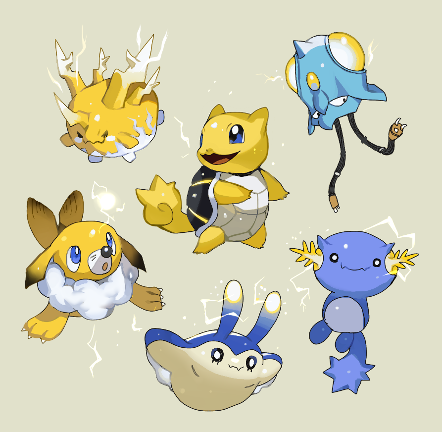 alternate_element alternate_form beige_background black_eyes blue_eyes blush_stickers claws closed_mouth commentary_request corsola electricity fangs full_body gen_1_pokemon gen_2_pokemon gen_4_pokemon gen_7_pokemon happy looking_back looking_to_the_side looking_up mantyke newo_(shinra-p) no_humans pokemon pokemon_(creature) popplio simple_background smile squirtle tentacool white_eyes wooper
