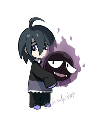 1boy ahoge black_hair closed_mouth full_body gastly gen_1_pokemon kabo_(friedpotat) lowres male_focus onion_(pokemon) pajamas pale_skin pokemon pokemon_(game) pokemon_swsh purple_legwear simple_background sleeves_past_wrists socks solo toddler violet_eyes watermark white_background