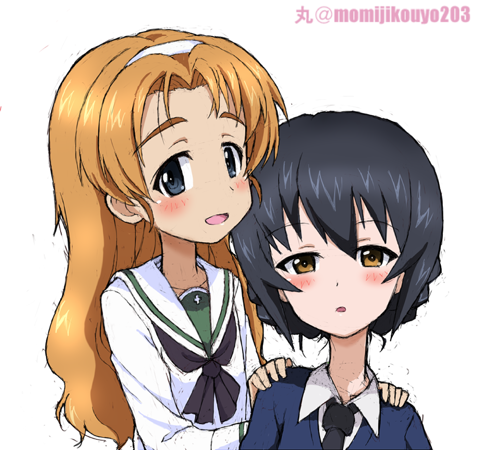 2girls alternate_hairstyle artist_name bangs black_hair black_neckwear blouse blue_eyes blue_sweater braid brown_eyes commentary cosplay costume_switch dress_shirt girls_und_panzer hair_down hair_up hairband half-closed_eyes hands_on_another's_shoulders kayabakoro light_smile long_hair long_sleeves looking_at_viewer multiple_girls neckerchief necktie ooarai_school_uniform open_mouth orange_hair orange_pekoe parted_bangs reizei_hisako reizei_mako school_uniform serafuku shirt short_hair simple_background sitting sketch smile st._gloriana's_school_uniform standing sweater tied_hair twin_braids twitter_username v-neck white_background white_blouse white_hairband white_shirt wing_collar