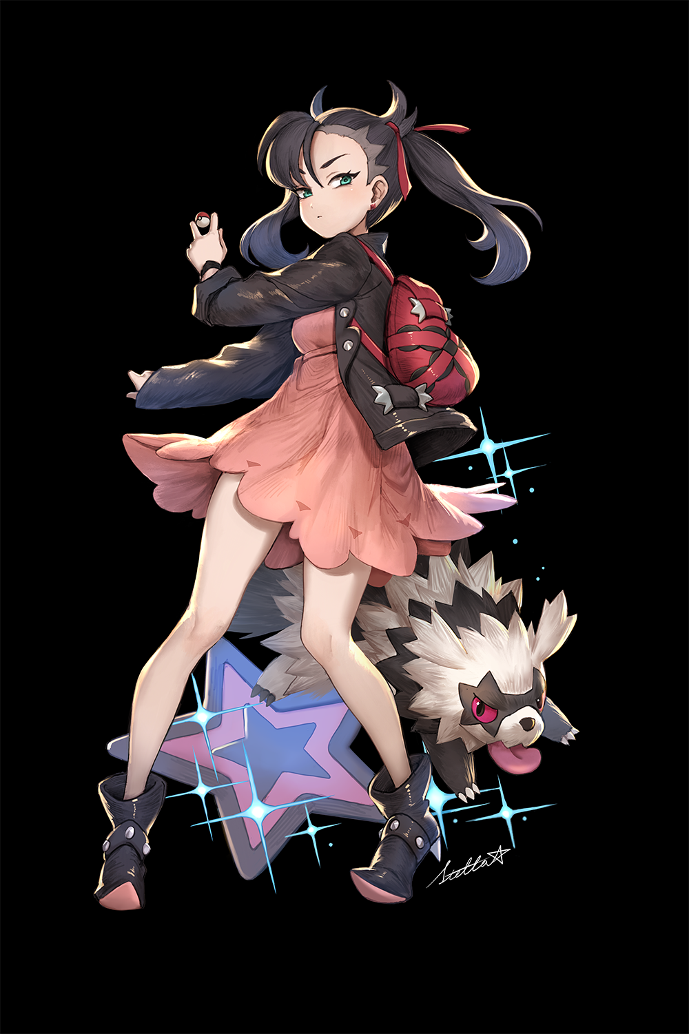1girl aqua_eyes asymmetrical_hair backpack bag bangs black_hair black_jacket choker commentary_request dress earrings galarian_form galarian_zigzagoon gen_8_pokemon hair_ribbon highres jacket jewelry leather leather_jacket long_sleeves mary_(pokemon) pink_dress poke_ball poke_ball_(generic) pokemon pokemon_(creature) pokemon_(game) pokemon_swsh ribbon short_twintails stellarism twintails