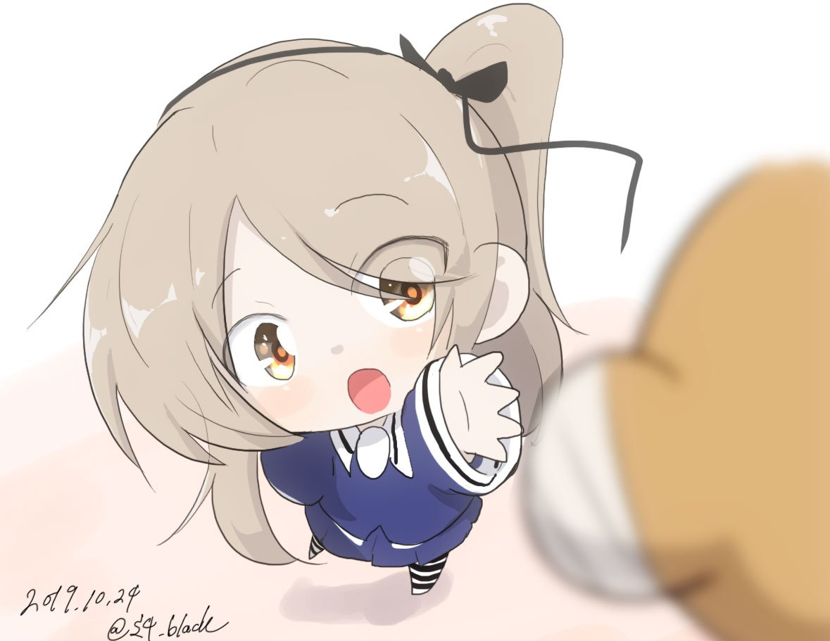 1girl bangs black_ribbon blurry blurry_foreground boko_(girls_und_panzer) commentary_request dated depth_of_field eyebrows_visible_through_hair girls_und_panzer hair_ribbon jinguu_(4839ms) light_brown_eyes light_brown_hair long_hair long_sleeves looking_at_viewer navy_blue_shirt navy_blue_skirt one_side_up open_mouth pantyhose pleated_skirt reaching ribbon shimada_arisu skirt solo standing striped striped_legwear stuffed_animal stuffed_toy teddy_bear twitter_username younger